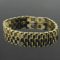 luxo ouro banhado a ouro relógios venda por atacado-Pulseiras de pulseiras de coroa de relógio de largura estreita 2018 para homens Jóias de pulseira de coroa de luxo de aço inoxidável 316L Rose PS6214A