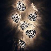 ingrosso lanterne bianche hanno condotto le luci di stringa-Warm White 10 LED Festival Light String Hollow Heart Room 1.6M Decorazione Light String Indoor Decoration Lantern