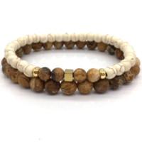 ingrosso perline marrone agata-2018 New Fashion Simple Brown Stone Bead Bracciale per uomini donne braccialetto gioielli regalo Pulsera hombres