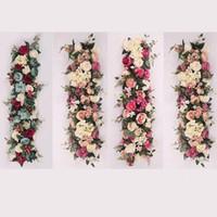 diseño de la boda de los apoyos al por mayor-Wedding Party Prop Flores Artificiales Diseño Romántico Simulación Seda Flower Platoon Rose Wall Party Decoration Muchos Colores 88fy ZZ