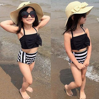 Wholesale cute baby swimwear - Cute Baby Kids Girl Bikini Set Swimwear Striped Triangle Bow Swimming Bathing Suit Two Pieces Swimsuit Proud Princess Beachwear