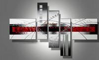 pinturas abstratas preto vermelho venda por atacado-Diacount vermelho preto branco arte abstracta 5 peça wall art pintados à mão pinturas a óleo moderna abstrata arte da lona pintura a óleo decoração de casa