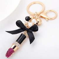 Wholesale trinket accessories - Creative Lipstick Key Chain Fashion Keychains Car Key Rings Accessories Women Bag Charm Pendant Trinket Wholesale