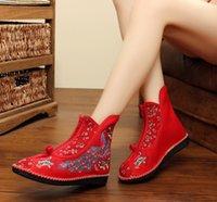 encantos leves venda por atacado-Sapatos artesanais Ultra light PU zíper inferior cor correspondência nacional charme singles das mulheres sapatos bordados shoe013