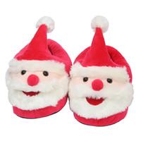 sapatas dos falhanços da aleta do natal venda por atacado-Papai Noel de Pelúcia Chinelos de desenhos animados Calcanhar Completo Macio e Quente de Inverno para crianças grandes Sapatos de Natal 28 cm C5336