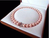 ingrosso cuore sud-ePacket Rare Enormi 12mm Genuine South Sea Pink Shell Collana di perle cuore chiusura 18 ''