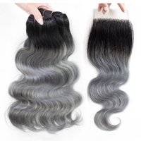 Wholesale colored ombre hair online - Ombre Grey Human Hair Bundles with Closure T B Grey Colored Brazilian Hair Extension Brazilian Peruvian Malaysian Indian Body Wave