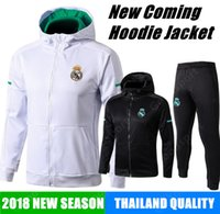 Wholesale black jacket hoodie - 2018 REAL MADRID JACKET Training HOODIE KITS outfits TRACKsuits Soccer Jersey Ronaldo ASENSIO Football SERGIO RAMOS sweaters