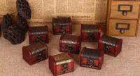 caja de madera de almacenamiento vintage al por mayor-100 unids caja de almacenamiento organizador caja de la joyería de la vendimia Mini modelo de flor de madera recipiente de metal cajas de madera hechas a mano pequeñas envío gratis