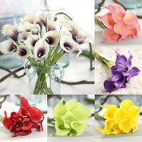 faux fleurs de lis achat en gros de-13 Couleurs PU Calla Lily Artificielle Bouquet De Fleurs Real Touch Parti Décorations De Mariage Faux Fleurs Décor À La Maison B