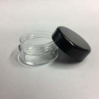 frasco cosmético de calidad al por mayor-5G 5ML de Alta Calidad Vacío Tarro de Contenedor Claro Olla con Tapas Negras para Maquillaje en Polvo Loción Crema Bálsamo Labial / Brillo Muestras de Cosméticos 1000 unids / lote