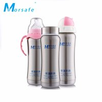 Wholesale Print Water Bottles - Wide-caliber Baby Stainless Steel Thermos with Handle Nipple Straw 3-in-1 Bottle Water Milk Stainless Steel Cups for Infant