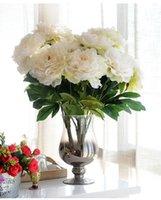 ingrosso decorazione di nozze-Fiore Fiori artificiali Bouquet Peonia Fiore di seta Europeo 5 teste Grandi peonie Caduta vivida foglia finta Fiore Matrimonio Casa Festa Decorat