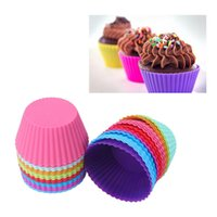 Wholesale 1 Set of Pieces dozen Round Shaped Silicon Cake Baking Molds Muffin Cup Jelly Mold Silicon Cupcake Pan