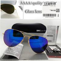 ters camlar toptan satış-En Kaliteli Cam Lens Pilot Vintage Gözlük Erkek Kadın Güneş Gözlüğü UV400 Marka Tasarım 58 MM 62 MM Unisex Ayna Güneş Gözlükleri Daha Iyi Durumda Sticker