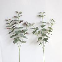 plantas de flores de seda al por mayor-2019 nueva Hoja de Eucalipto Artificial de Dólar de Plata Para las flores de seda Tienda Doméstica Dest Rústico Decoración Trébol