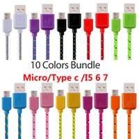 Wholesale Usb Wiring Colors - 10 Colors Type c Micro Nylon Cable 1m 2m 3m Usb C fabric braided data charger cables wire for samsung s7 s8 s9 htc android phone mp3 pc 7 8
