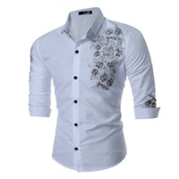 Wholesale Long Sleeved Plus Size Dresses - England Style Mens Dress Shirts Fashion Floral Embroidery Business Shirts Cotton Long Sleeved Tops Plus Size Clothing