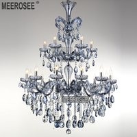 maria theresa lustre azul venda por atacado-Luxuoso Azul Claro Maria Theresa Grande Candelabro De Cristal de Luz de Cristal de Iluminação Encaixe lustres pendentes 18 Lâmpadas