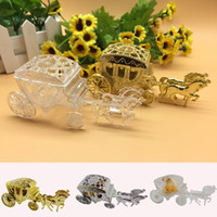 suministros de cajas de dulces al por mayor-Cinderella Carriage Wedding Favor Boxes Candy Box Royal Wedding Favor Holders Boxes Regalos Suministros para fiestas