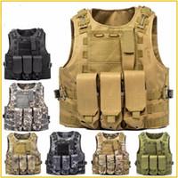 portador de placa molle al por mayor-Chaleco táctico Molle Combat Assault Plate Carrier Chaleco táctico 7 colores CS ropa exterior caza