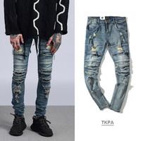 facas velhas venda por atacado-Rasgado magro motociclista mens designer baggy balman homens hip hop jeans KANYE lavado rocha do velho joelho faca de corte dos homens calças jeans verdadeira marca