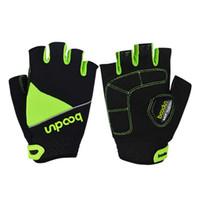 grüne halbe fingerhandschuhe großhandel-HOWO Grüne Laufhandschuhe New Shockproof Half Finger Fitness Fahrradhandschuhe
