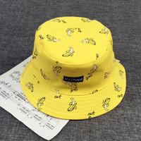 Wholesale white ladies wide brim hat resale online - Bucket cap Man Women Unisex cotton Banana Hat Bob Caps Hip Hop cool outdoor sports Summer ladies Beach Sun Fishing Bucket Hats