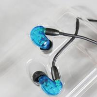 Wholesale Clear Earphones - Se215 Earphones English version black Clear In-Ear Earphones Handsfree Headset 10pcs Top Quality