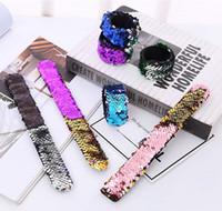 Wholesale Wholesale Christmas Favors - Girl Slap Bracelets Mermaid Sequin Wristband Double Colors Glitter Slap Bracelet Kids Party favors 9 Designs Optional 50pcs YW333-2