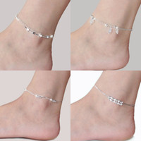 Wholesale Unique Lady - Fashion 925 Sterling Silver Anklets For Women Ladies Girls Unique Nice Sexy Simple Beads Silver Chain Anklet Ankle Foot Jewelry Gift Wedding