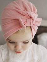 baby beanies ohren großhandel-Neue Europa US Baby Hüte Bunny Ohren Caps Turban Knoten Kopf Wraps Infant Kinder Indien Hüte Ohren Abdeckung Childen Milk Silk Beanie