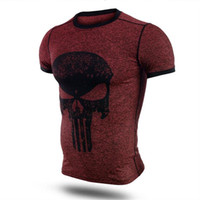 ingrosso camicie strette uomo-Fitness Compression Shirt Uomo Punisher Skull T Shirt Supereroe Bodybuilding Tight manica corta T Shirt marchio di abbigliamento Top