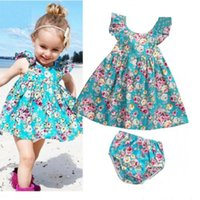 Wholesale no.1 sun - Fashion summer infant baby girl ruffle floral dress sun derss brief set kids baby girls outfits clothes set