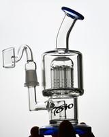 toro wasserpfeifen bongs großhandel-7,8 Zoll Mini TORO Blue Thick Glass Bong Berauschende Bohrinseln Glas Bongs Wasserpfeifen Recycler Klopfen Dampfbrenner 14mm Male Joint mit Bowl Shisha