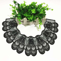 siyah dantel kumaş düzeltme toptan satış-Yamalar için kumaş yaka Trim Boyun Çizgisi Aplike elbise / düğün / gömlek / giyim / DIY / Dikiş çiçek Çiçek dantel gazlı bez siyah