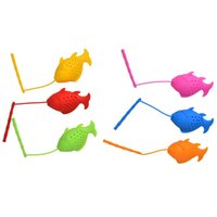 Wholesale empty tea bag wholesale - Cute Fish Shape Tea Infuser Food Grade Silicone Strainers Tea Strainer Herbal Infuser Filter Empty Tea Bags Diffuser Accessories