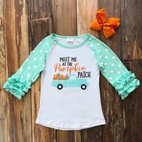 ingrosso camicia dell'automobile del bambino-Baby Girl Clothes Halloween Tops Cotton Raglans Girls T-shirt a manica lunga Raglans Fall Girls Pumpkin In The Car Festa di Halloween Raglan