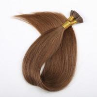 saç sapı ucu toptan satış-Kül Sarışın # 18 Ön gümrük Keratin Ben Ucu Saç Uzantıları Strand Başına 1g 100g 100 strand Brezilyalı İnsan Saç Sopa Ucu Saç Uzantıları