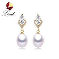 Wholesale Luxury Shiny Crystal Earrings Sterling Silver Gold Color Jewelry A Real Freshwater Pearl Drop Earrings with Gift Box