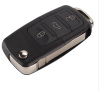araba anahtar fob davaları toptan satış-3 düğme Katlanır Araba Uzaktan Çevirme Anahtar Kabuk Vaka Fob VW Passat Polo Golf Touran Bora Ibiza Leon Octavia Fabia