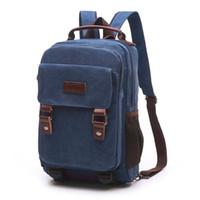 ingrosso portano lo zaino del sacchetto di spalla-Unisex Vintage Canvas Backpack Zaino da viaggio Satchel Carry School Bag Outdoor Escursionismo Campeggio Daypack Shoulder Bag