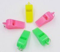 Wholesale necklace whistle - Plastic Neon Necklace Whistles Whistles On Nylon Braided Cord Russia World Cup Football Team Gifts Fans Lanyard Kids Toys Free DHL G766R
