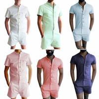 ingrosso corti pantaloni di tela-Pulsante New Summer Unique Pagliaccetto Camicia uomo in lino Set corto Tuta monopetto Tuta moda Tuta Pantaloni cargo casual