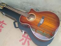 oem çin fabrikası toptan satış-En kaliteli 12 Dizeleri Kesit K24ce Klasik akustik gitar, 2017 Fabrika OEM El Yapımı Gitar, Çin KOA ahşap akustik Gitar