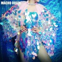 kraliçe denizkızı toptan satış-Holografik Mermaid Pullu Bodysuit Sürükle Kraliçe Kostümleri Sparkly Kadınlar Kıyafet Elmas Bodysuit Doğum Günü Partisi Giymek