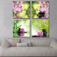 Wholesale Canvas Wall Art Bamboo - BANMU canvas painting decorative picture Butterfly Orchid Flower Zen Stones Wall Art Bamboo Print on Canvas Modern Art Wall