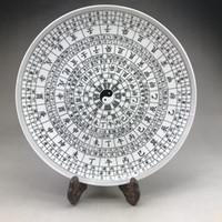 pintura china antigua al por mayor-Plato de cerámica antiguo chino hecho a mano pintura de patrón de chismes