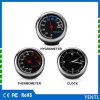 araba termometre saatleri toptan satış-Ücretsiz kargo 3 adet / torba Araba Otomobil Dijital Saat Oto İzle Otomotiv Aksesuarları Içinde Termometre Higrometre Aksesuarları Dekorasyon Süsleme Saat
