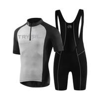 Wholesale short sleeve winter cycling jersey resale online - TRYSIL Running Sets Short Sleeve Running jerseys Cycling Jersey Bike Wear Clothe Winter Thermal Fleece Running Clothing Men